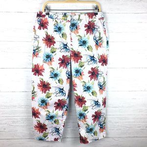 Talbots White and Floral Print Crop Pants